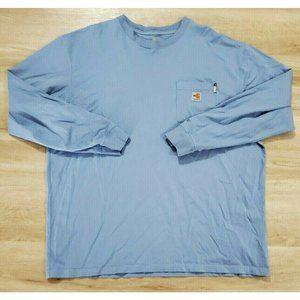 Carhartt Mens Long Sleeve Blue T-Shirt Size 2XL